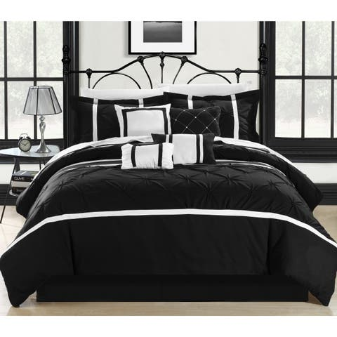 Chic Home Wright Black and White Pinch Pleated Embroidered 12 Piece Comforter Set Bed in a Bag