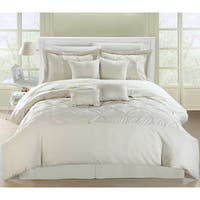 Chic Home Wright Beige Pinch Pleated Embroidered 12 Piece Comforter Set Bed in a Bag