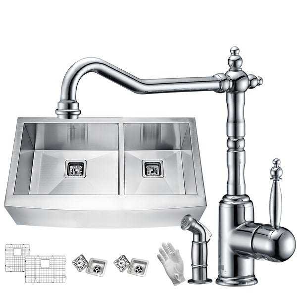 Elysian Farmhouse Stainless Steel 33 in. 60/40 Double Bowl Kitchen Sink with Faucet in Polished Chrome - Silver. Opens flyout.