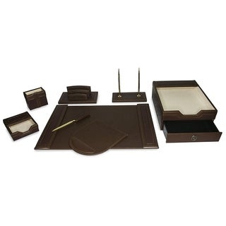 Majestic Goods 8 Piece Brown PU Leather Desk Organizer Set With Double  Stack Letter Tray