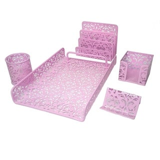 Majestic Goods 5 Piece Pink Flower Design Punched Metal Mesh Office Desk Accessories Organizer