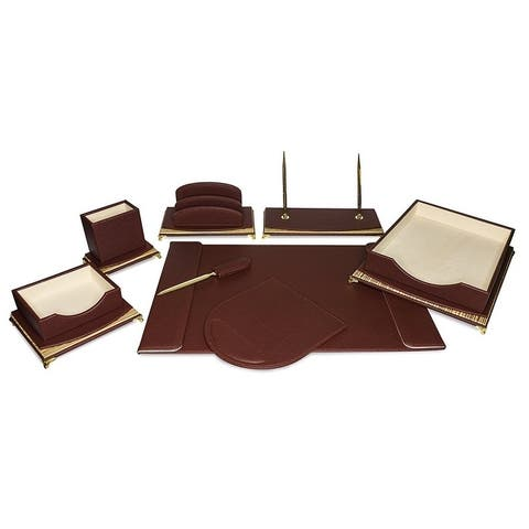 Majestic Goods 8 Piece Burgundy PU Leather Desk Organizer Set
