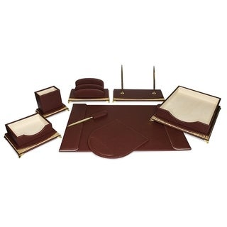 Majestic Goods 8 Piece Burgundy PU Leather Desk Organizer Set