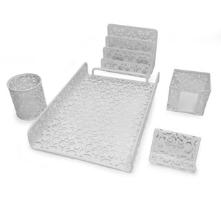 Majestic Goods 5 Piece White Flower Design Punched Metal Mesh Office Desk Accessories Organizer