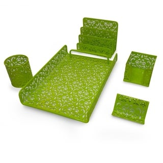 Majestic Goods 5 Piece Green Flower Design Punched Metal Mesh Office Desk Accessories Organizer