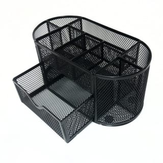 Majestic Goods Mesh Desk Organizer Caddy For Office Supplies With 8 Compartment And Drawer