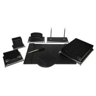 Majestic Goods 8 Piece Black PU Leather Desk Organizer Set