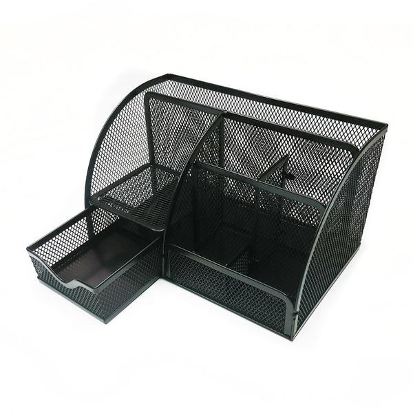 shop majestic goods mesh desk organizer caddy for office supplies rh overstock com mesh desk organizer with sliding drawer black mesh desk organizer with sliding drawer