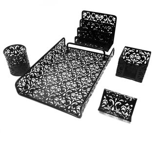 Majestic Goods 5 Piece Black Flower Design Punched Metal Mesh Office Desk Accessories Organizer
