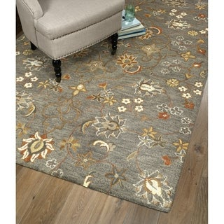 Hand-Tufted Christopher Pewter Green Wool Rug - 12' x 15'
