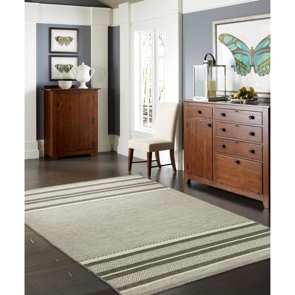 """Andes Canyon Granite Grey Cotton Chenille Handmade Area Rug - 7'6"""" x 9'6"""""""