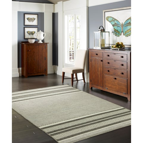 """Andes Canyon Grey Cotton Chenille Granite Handmade Area Rug - 8'6"""" x 11'6"""""""