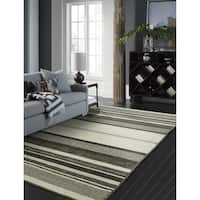 "Andes Canyon Graphite Cotton Chenille Handmade Area Rug - 9'6"" x 13'"
