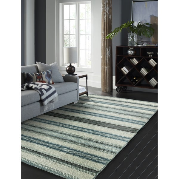 """Andes Canyon Turquoise Cotton and Chenille Handmade Striped Area Rug - 7'6"""" x 9'6"""""""