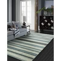 "Andes Canyon Turquoise Cotton Chenille Handmade Area Rug - 8'6"" x 11'6"""