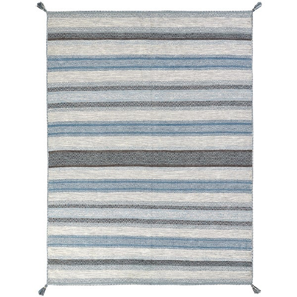 Andes Canyon Blue/Grey Cotton Chenille Handmade Area Rug (9'6 x 13')