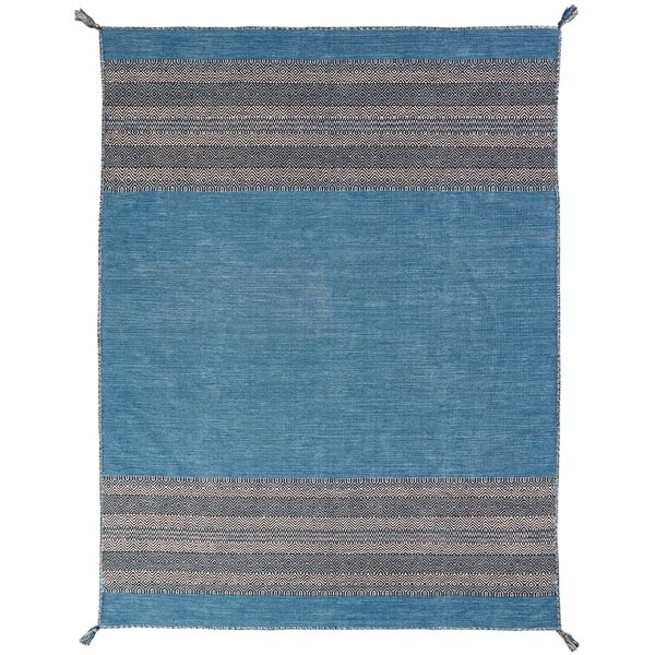 "Andes Desert Teal Cotton Chenille Handmade Area Rug - 7'6"" x 9'6"""