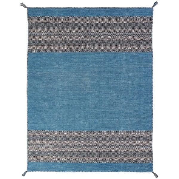 "Andes Desert Teal Chenille Cotton Handmade Kilim Area Rug - 8'6"" x 11'6"""
