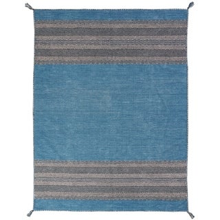 "Andes Desert Teal Chenille Cotton Handmade Kilim Area Rug (8'6 x 11'6) - 8'6"" x 11'6"""