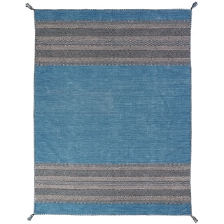 """Andes Desert Teal Cotton Chenille Handmade Area Rug (9'6 x 13') - 9'6"""" x 13'"""