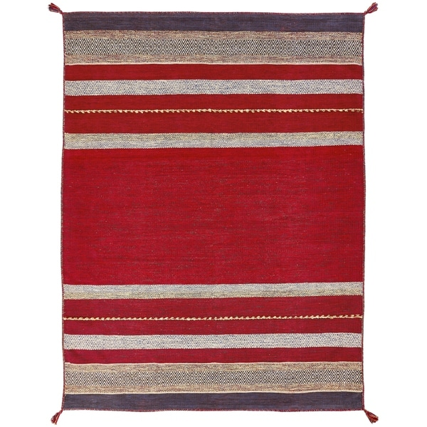 """Andes Ruby Red Cotton Chenille Handmade Area Rug - 7'6"""" x 9'6"""""""