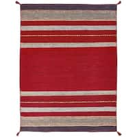 Andes Ruby Red Cotton Chenille Handmade Area Rug (7'6 x 9'6)
