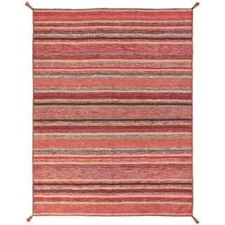 "Andes Santa Fe Rust/Blue Cotton Handmade Area Rug - 7'6"" x 9'6"""