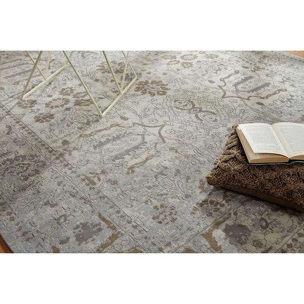"""Jardin Beige/Mushroom Cotton Chenille Handmade Area Rug (7'6 x 9'6) - 7'6"""" x 9'6"""""""