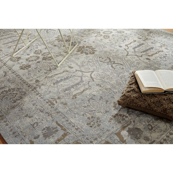 """Jardin Beige/Mushroom Cotton Chenille Handmade Area Rug - 8'6"""" x 11'6"""""""