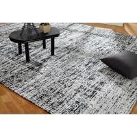 "Jardin Hazy Charcoal Cotton Chenille Handmade Area Rug (7'6 x 9'6) - 7'6"" x 9'6"""