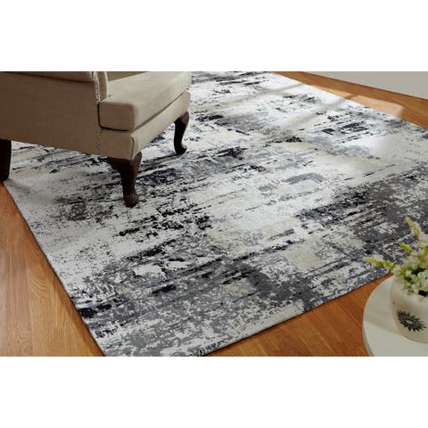 "Jardin Sand/Steel Cotton Chenille Handmade Area Rug - 7'6"" x 9'6"""