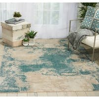 """Nourison Maxell Distressed Collection Ivory/Teal Indoor Rectangular Area Rug - 9'3"""" x 12'9"""""""