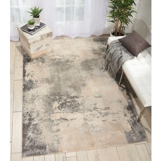Nourison Maxell Distressed Ivory/Grey Area Rug (9'3 X12'9)