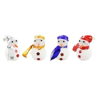 """Christmas Tree Light Up Ornament, Set Of 4 Pieces Of Snowman, 5"""" Each"""