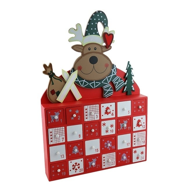 Three Star Advent Calendar, Wooden (Wood), Green