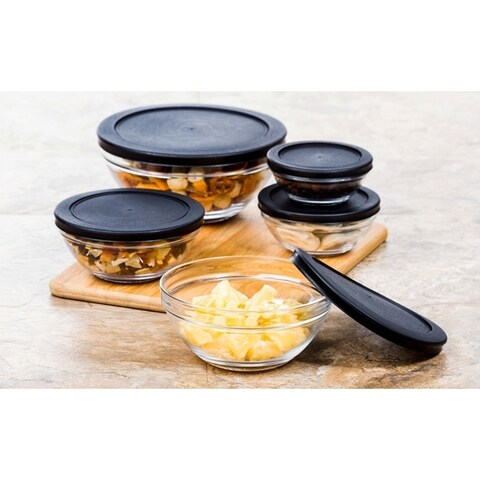 10 Pcs Glass Food Storage Containers Bowls Lunch Bowl Snap Tight Lid