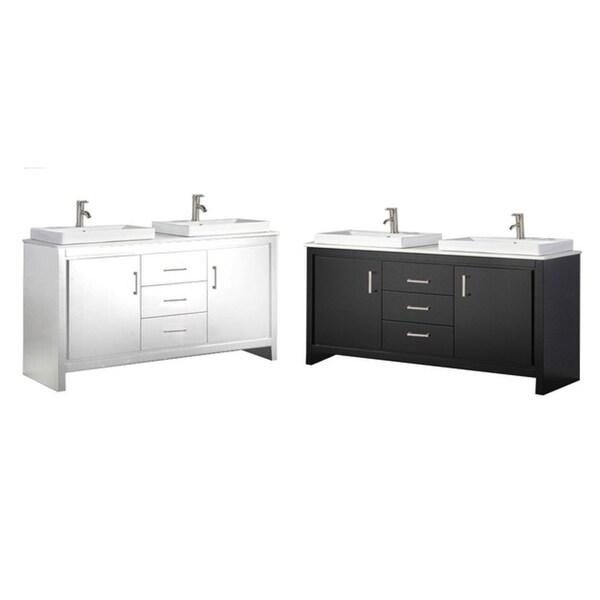 """Bergamo II 60"""" Double Sink Modern Bathroom Vanity"""