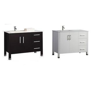 "Monaco 40"" Single Sink Modern Bathroom Vanity (Sink on Left Side), Espresso"