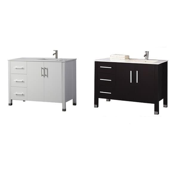 shop monaco 40 single sink modern bathroom vanity sink on right side espresso free. Black Bedroom Furniture Sets. Home Design Ideas
