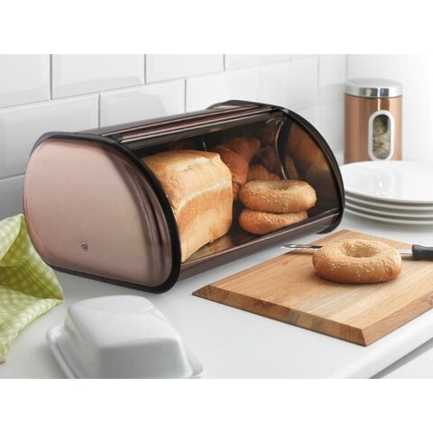 Copper - Stainless Steel Bread Box Roll Top 2 Loaf Capacity Bread Box