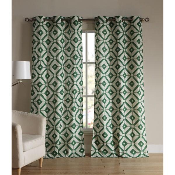 Jacquard Mckenna Linen Grommet Curtain Panel Pair
