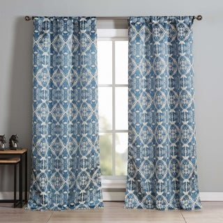 Lala Bash Wally Whales Printed Blackout Curtain Panel Pair - 37x84""