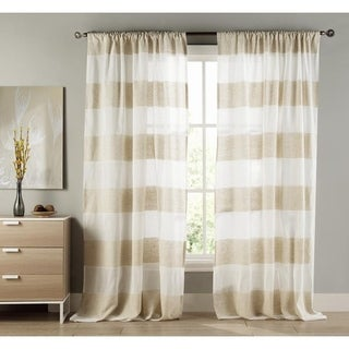 Linen Lydelle Stripe Room Darkening Pole Top Curtain Panel Pair