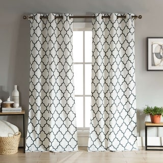 "Linen Look Mason 76X112"" Room Darkening Grommet Curtain Panel (Option: 112 Inches)"