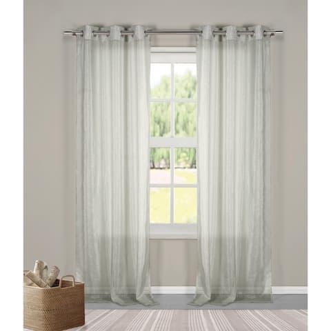 "Duck River Metallico Linen Metalic Curtain Panel Pair - 40x84"""