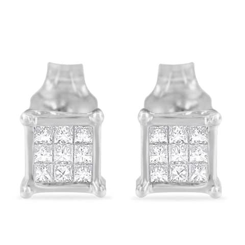 Sterling Silver 0.2ct TDW Multi-stone Princess-cut Diamond Stud Earring(H-I,I1-I2)