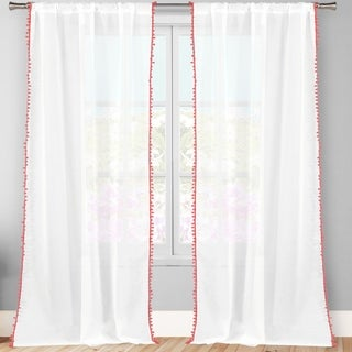 Lala+Bash Aveline Trim Curtain Panel Pair With Pom Pom Tie Back (More options available)