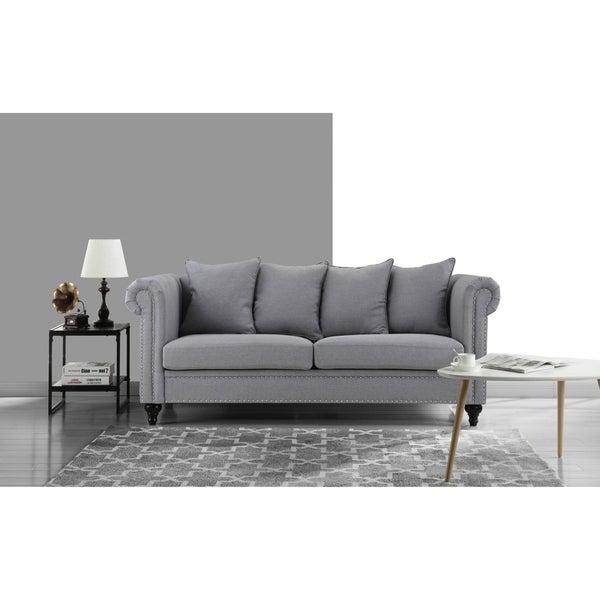 Modern Nailhead Sofa: Shop Modern Chesterfield Scroll Arm Linen Living Room Sofa