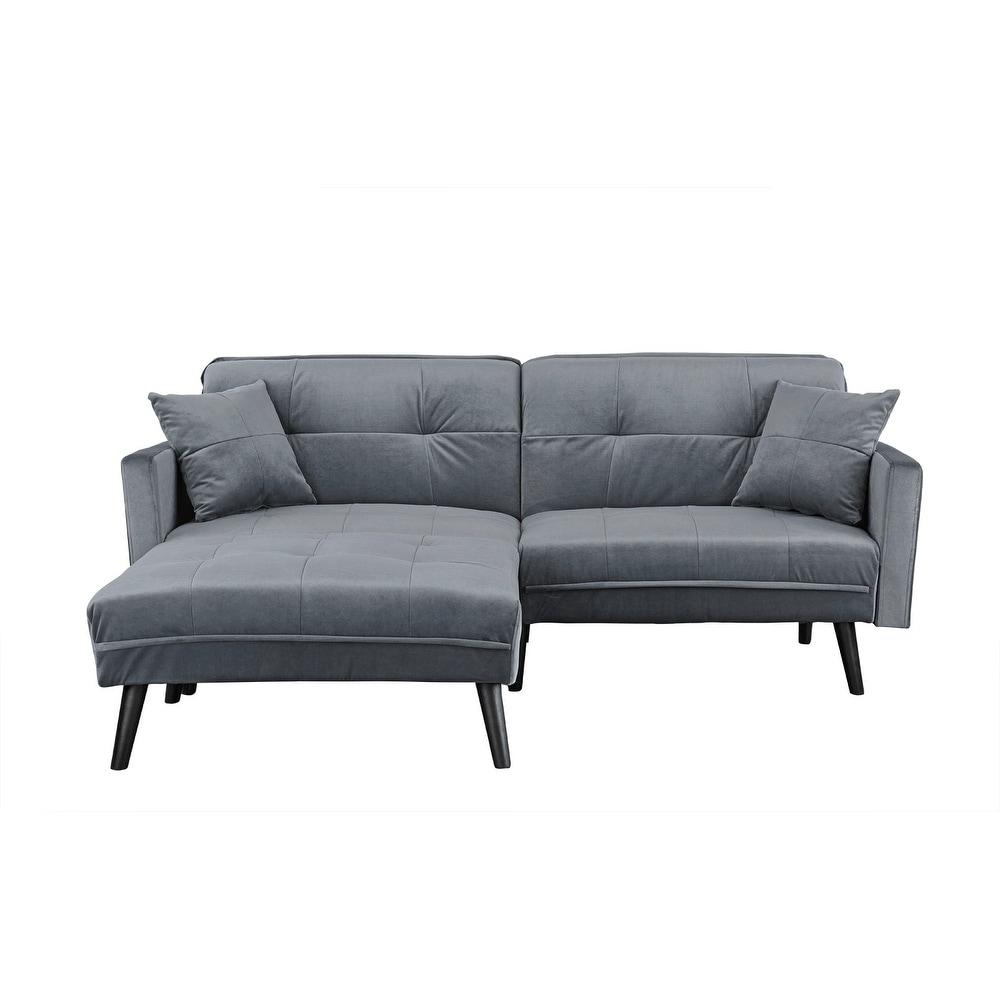 Modern Mid-Century Futon Sofa Bed in Brush Microfiber