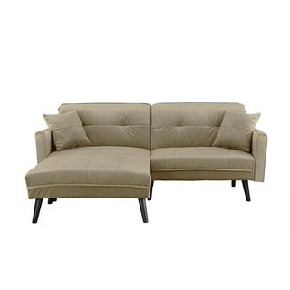 Modern Mid-Century Futon Sofa Bed in Brush Microfiber (5 options available)